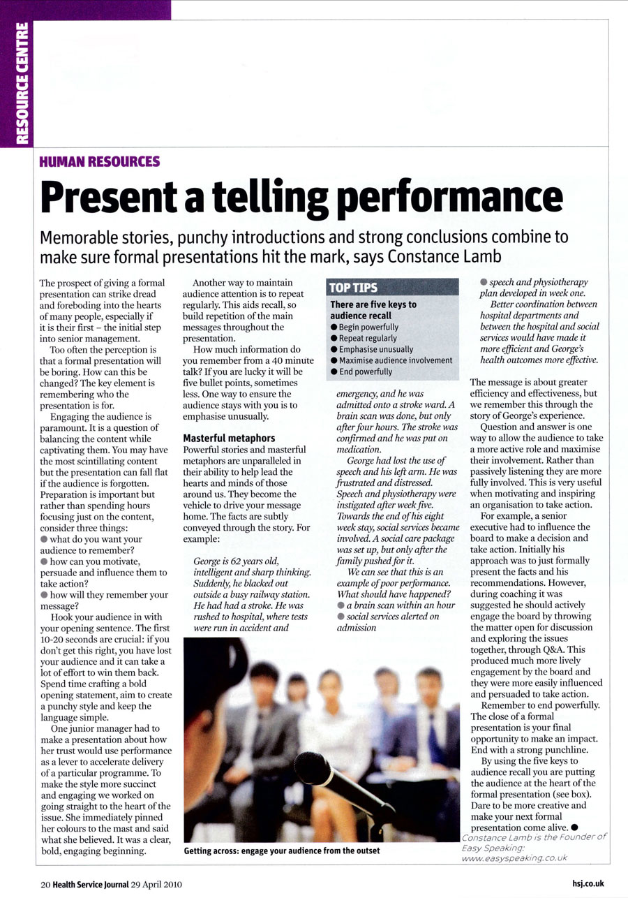 Present A Telling Performance